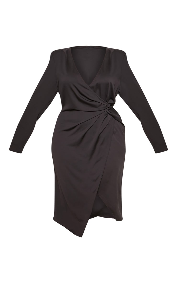 Black Drape Pleated Detail Midi Dress 4