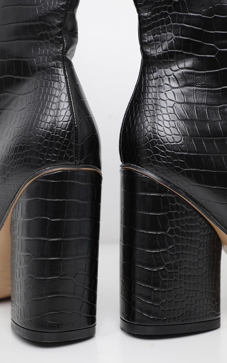 Black Croc Chunky Block Heel Point Toe Boot 4