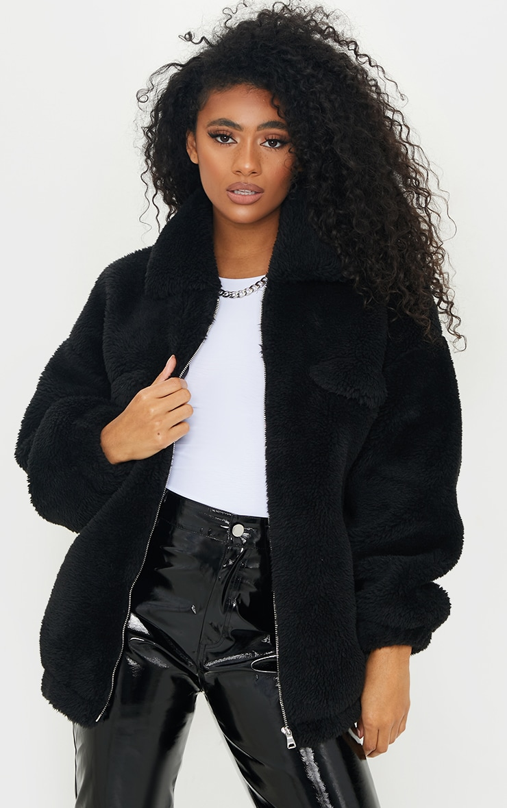 Black Long Faux Fur Oversized Collar Jacket 1