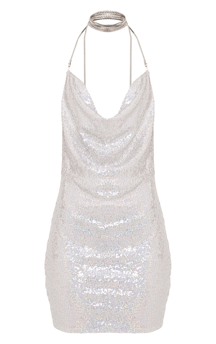 Tarria Silver Sequin Chain Choker Mini Dress 3