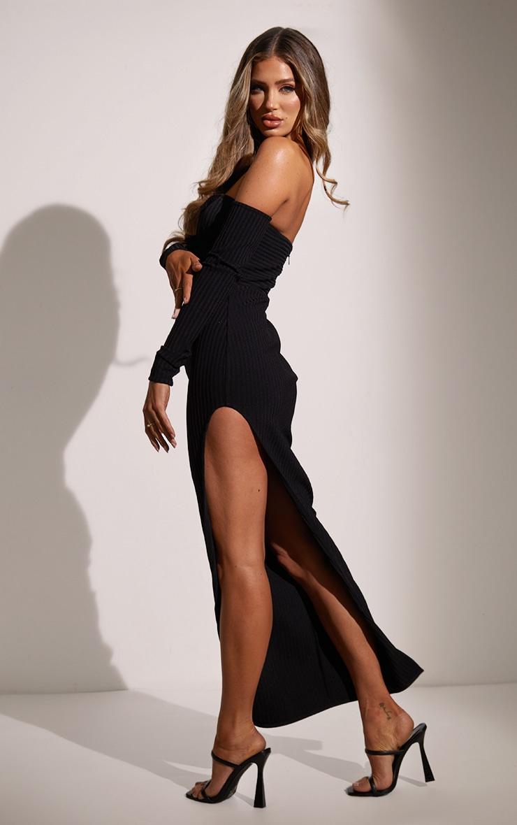 Black Bandage Ribbed Bardot Plunge Midaxi Dress 2