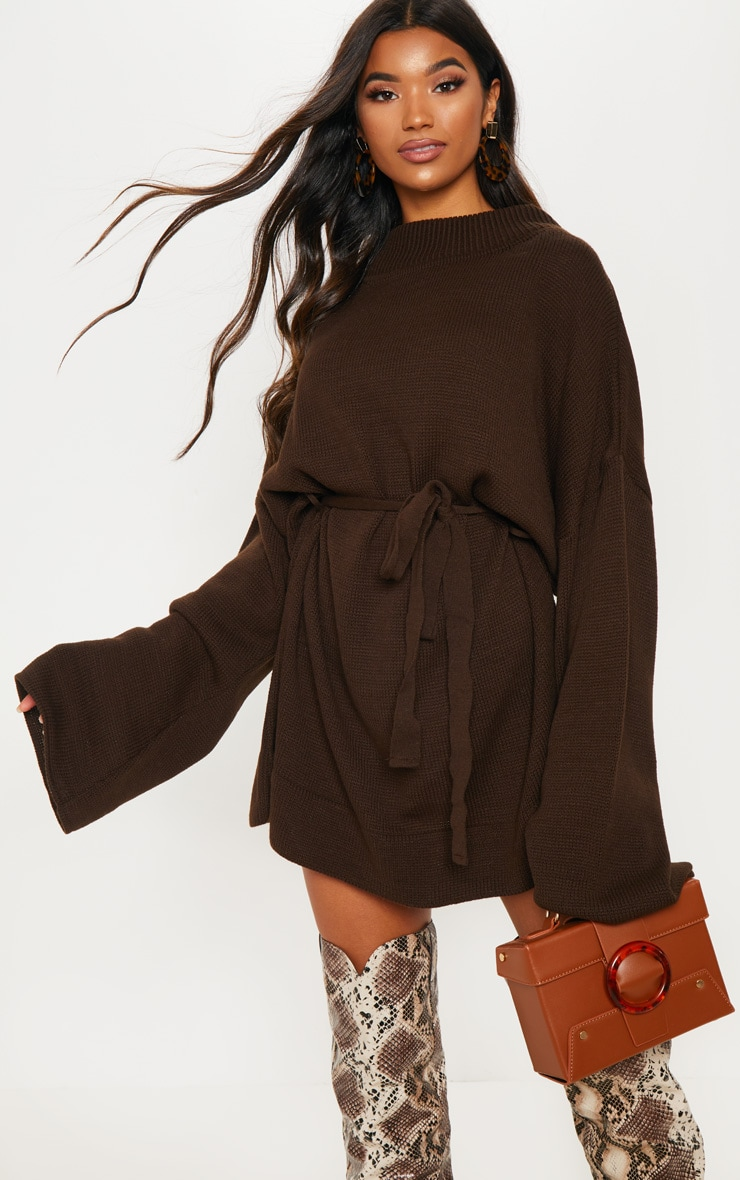 Brown Oversized Knitted Belted Dress  1