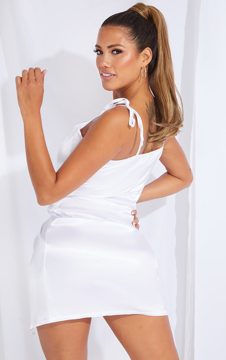 Shape White Satin Tie Shoulder Wrap Bodycon Dress 2