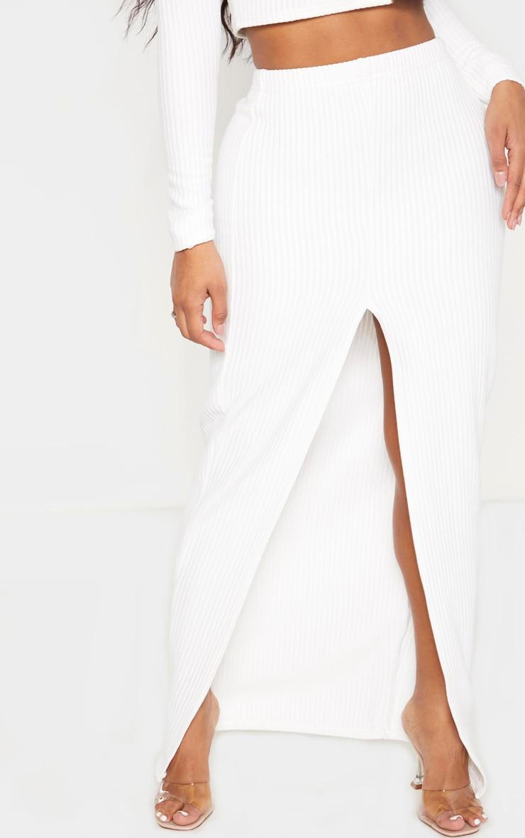 Shape Cream Jumbo Rib Split Front Midaxi Skirt 2