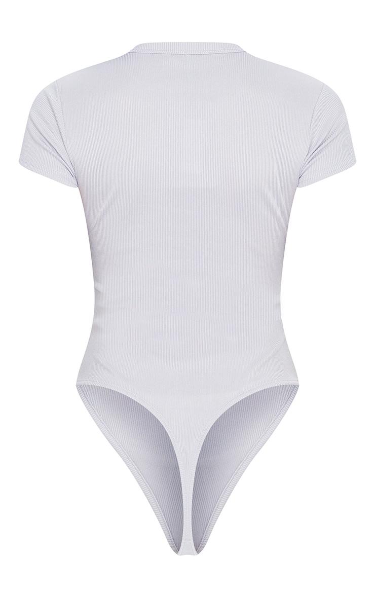Grey Short Sleeve Crew Neck Bodysuit 4