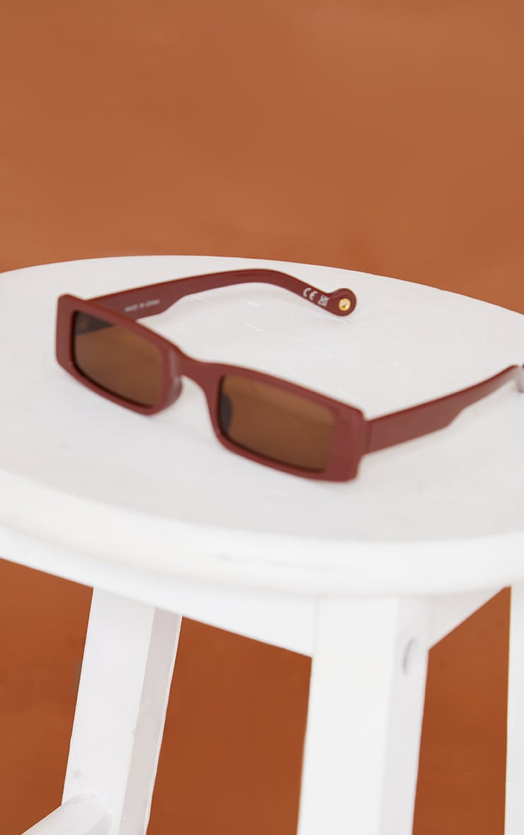PRETTYLITTLETHING Chocolate Small Square Sunglasses 2
