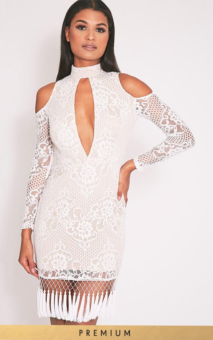 Krina Premium robe moulante blanche en dentelle à pompon 2