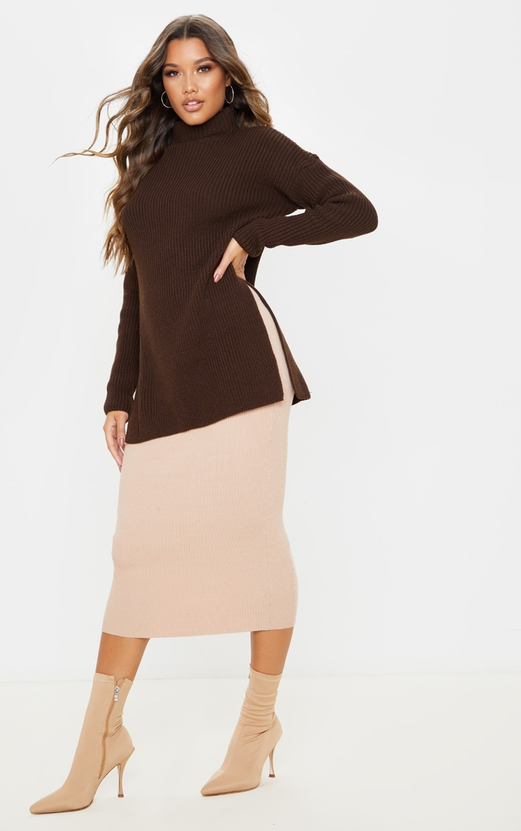 Chocolate Brown High Neck Knitted Side Split Jumper 4