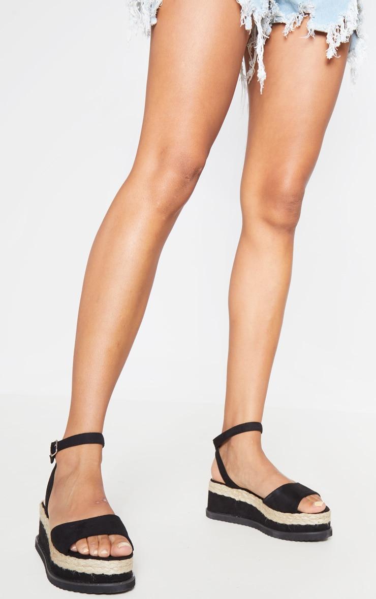 Black Faux Suede Flatform Sandal 1