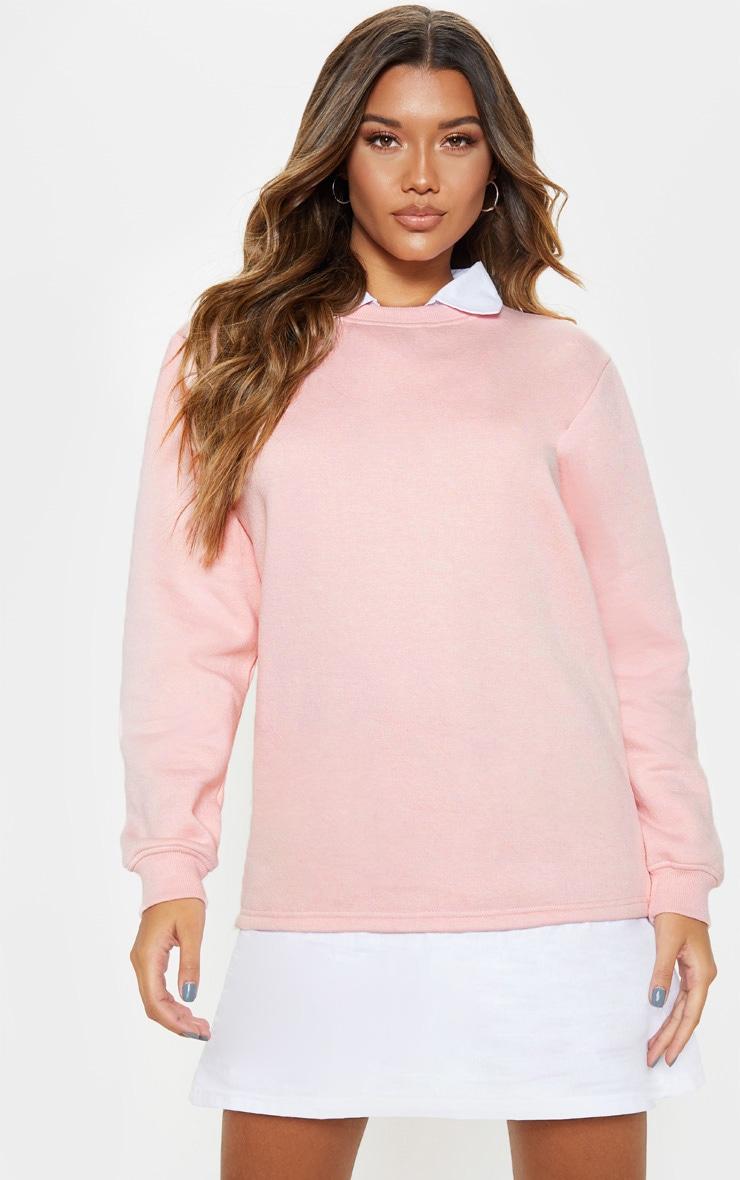 Baby Pink Shirt Collar Sweat Jumper Dress 4