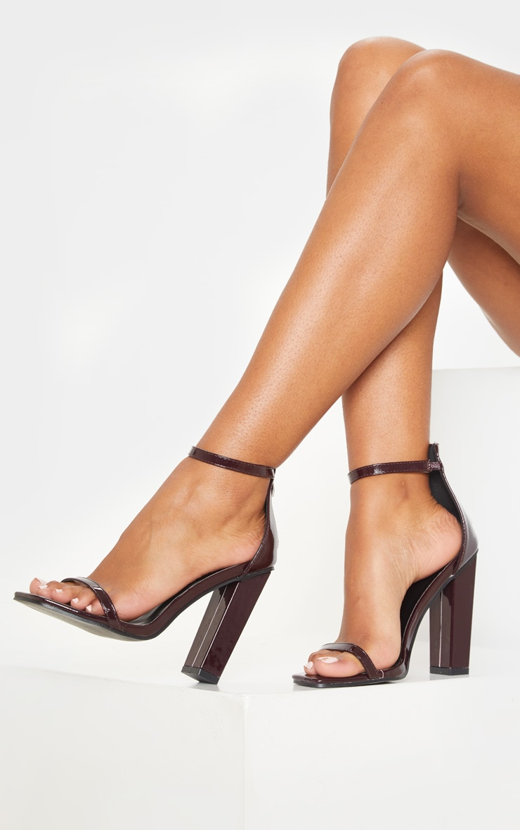 Burgundy Square Toe High Block Heel Sandal 1
