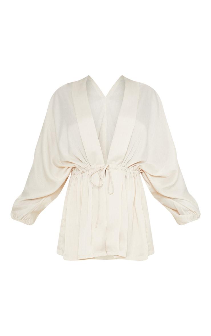 Cream Textured Woven Plunge Tie Waist Blouse 4