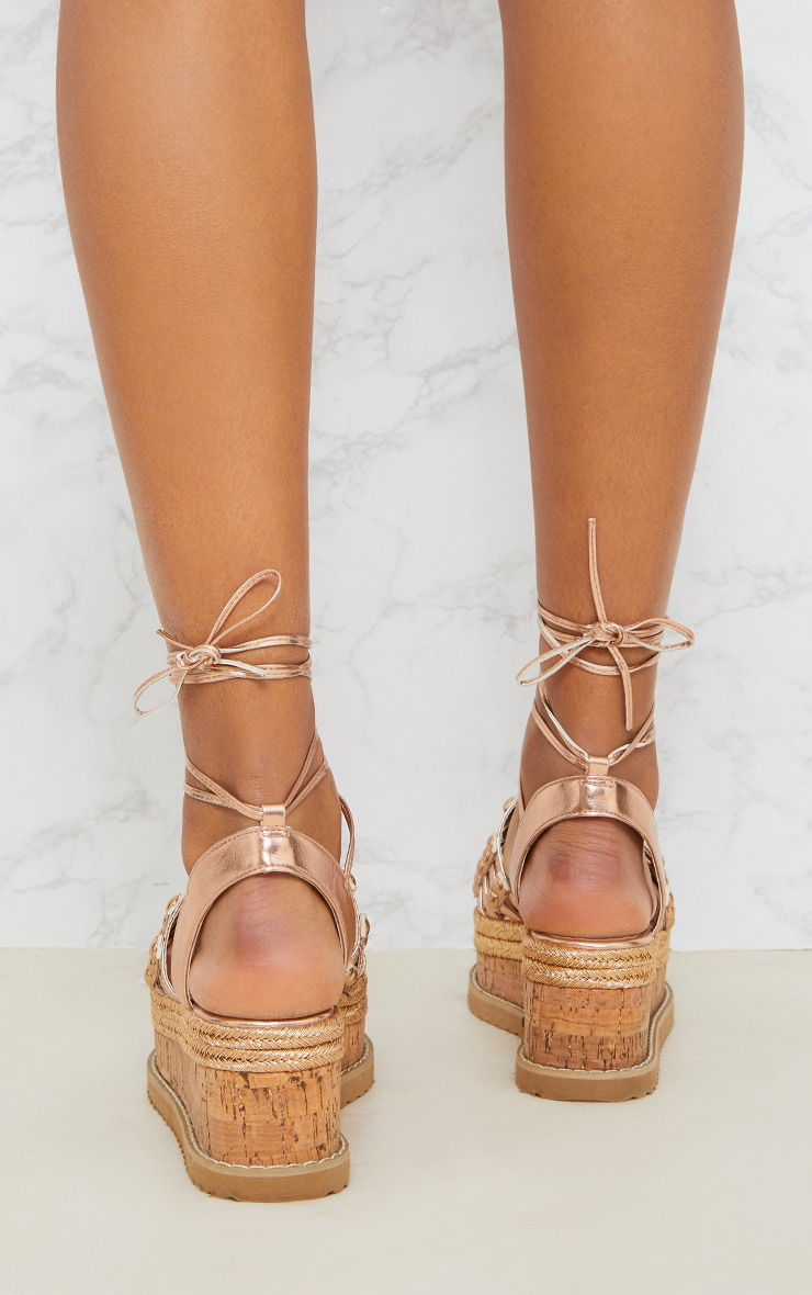 Rose Gold Dome Studded Espadrille Flatform 4