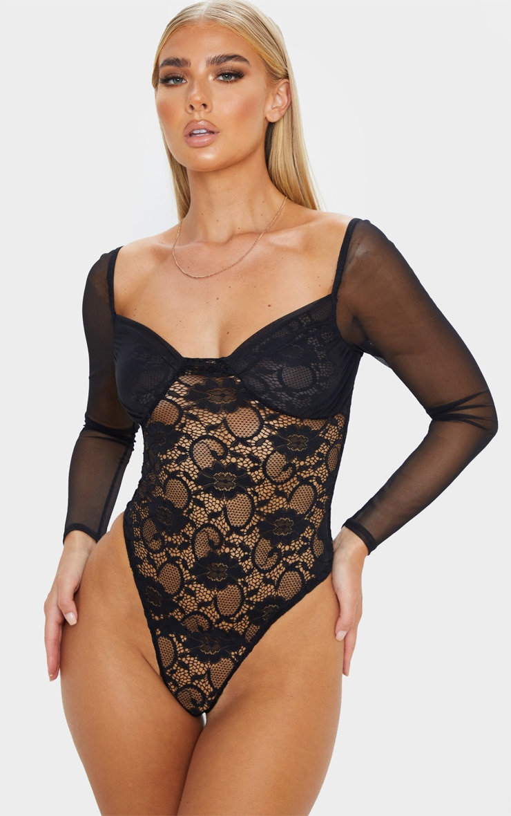 Black Chiffon Sleeve Lace Bodysuit  2