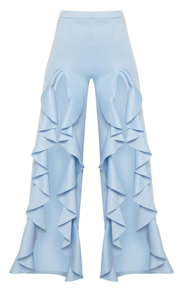 Pale Blue Ruffle Front Wide Leg Trouser  3