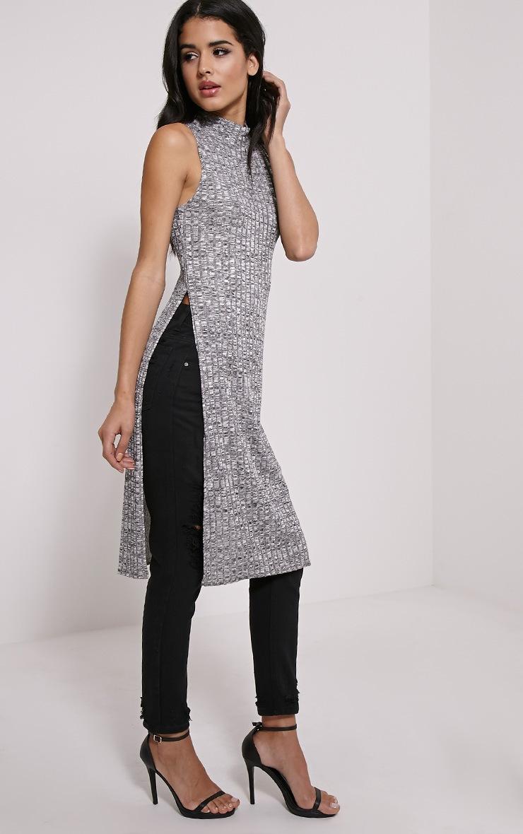 Krishna Grey Jacquard Knitted Side Split Top 3