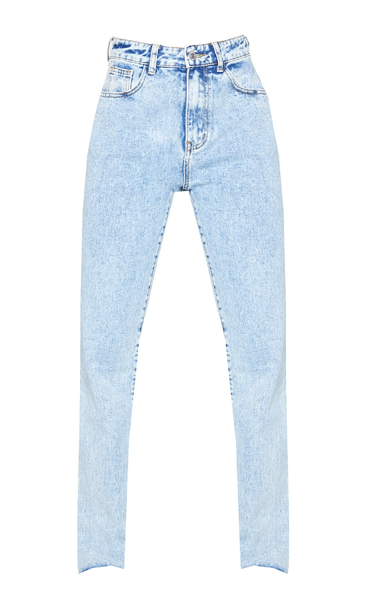 Acid Blue Wash Long Straight Leg Raw Hem Jeans 5