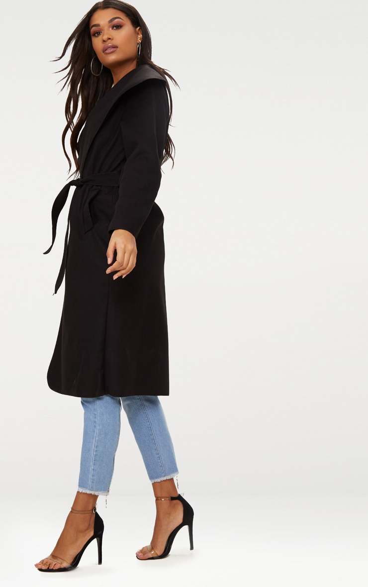Veronica Black Oversized Waterfall Belt Coat 4