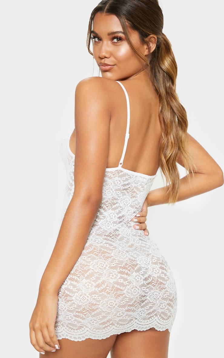 White Lingerie Lace Slip Dress 2