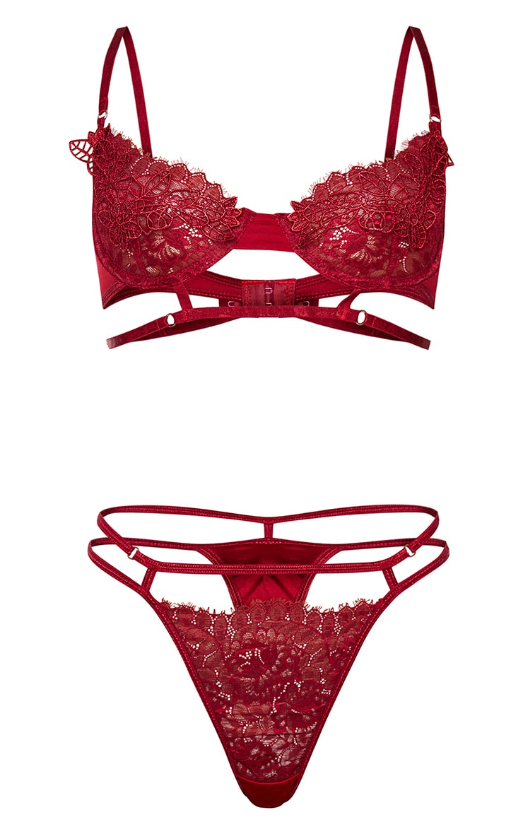 Wine Embroidered Lace Detail Strappy Lingerie Set 5