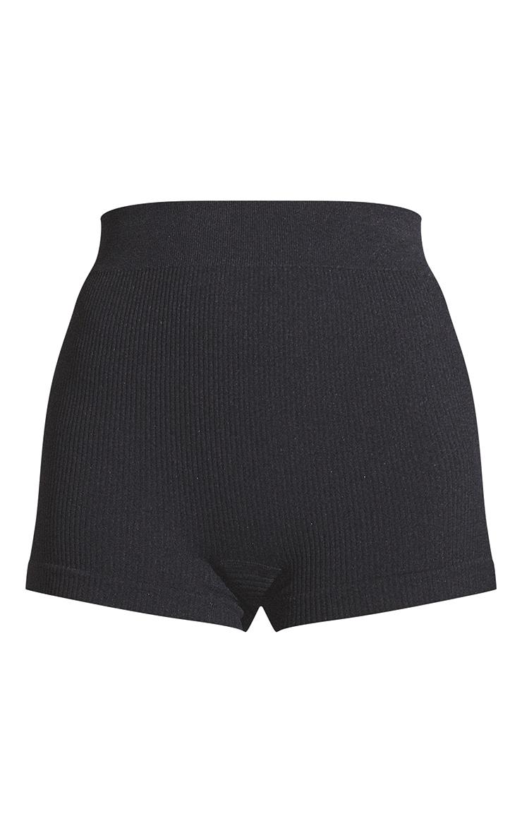 Black Structured Contour Rib Hot Pants 6