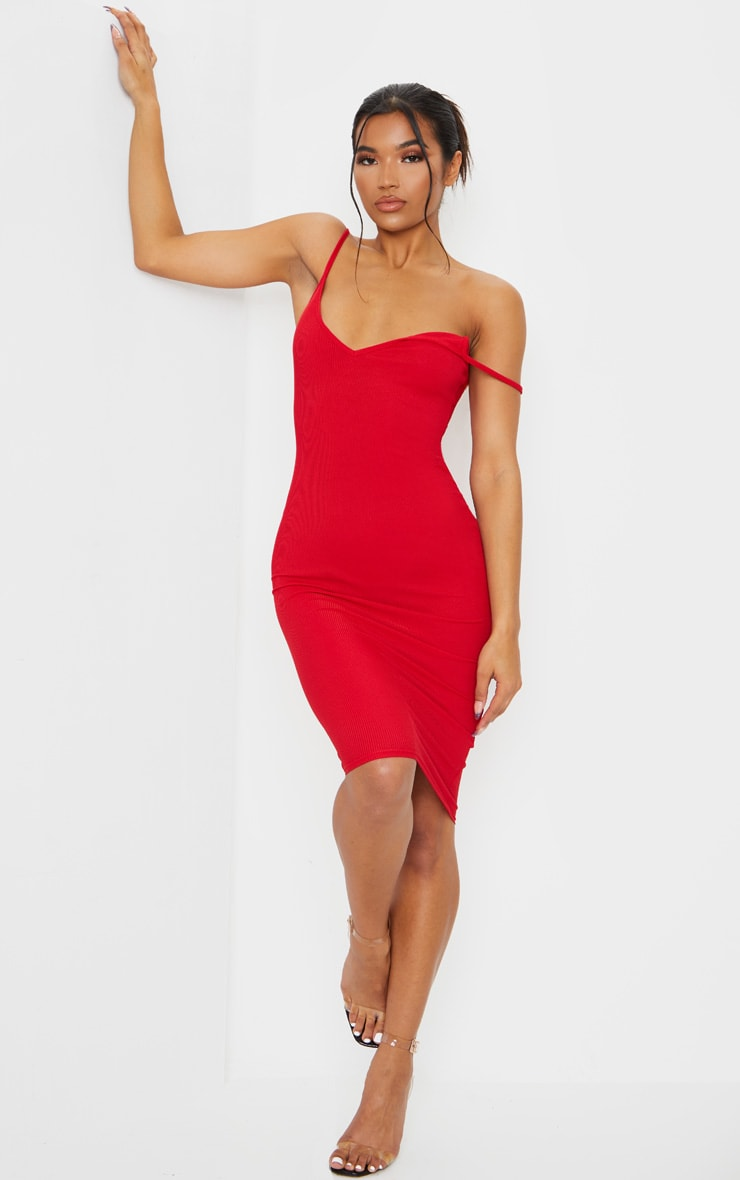 Red Ribbed Plunge Bodycon Dress 2