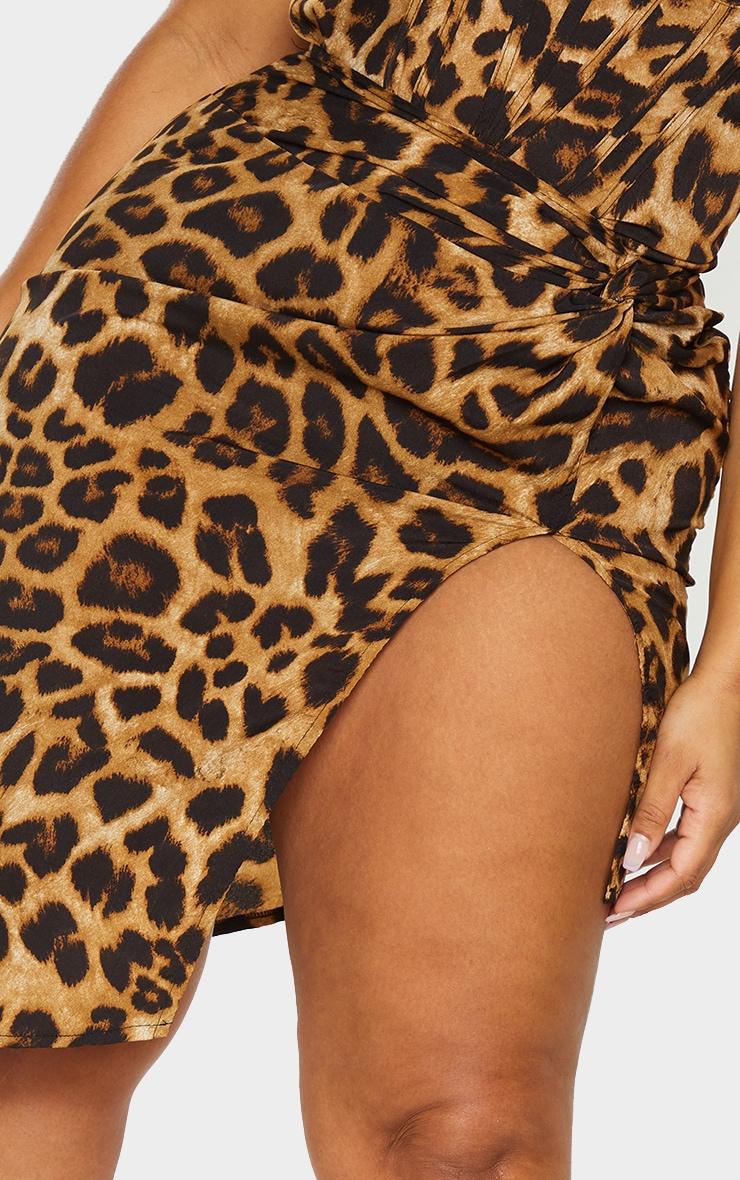 Plus Brown Leopard Print Satin Knot Front Skirt 4