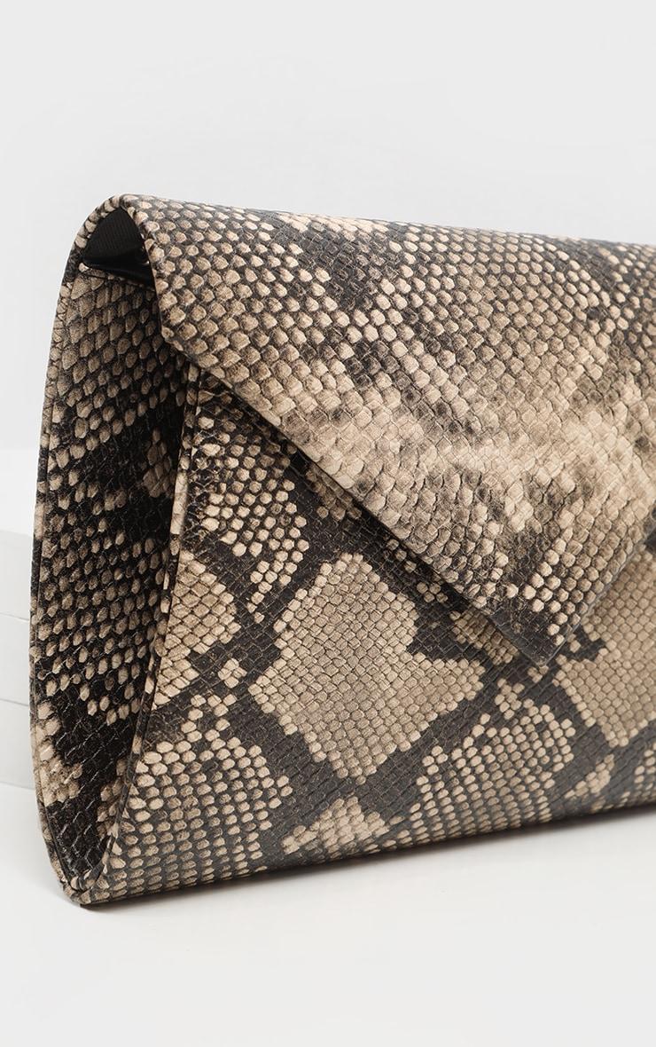 Brown Snake PU Envelope Clutch Bag 5