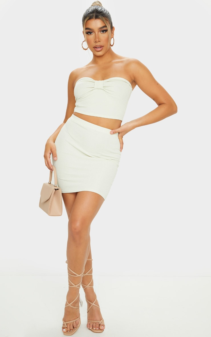 Sage Green Crinkle Rib Mini Skirt 1