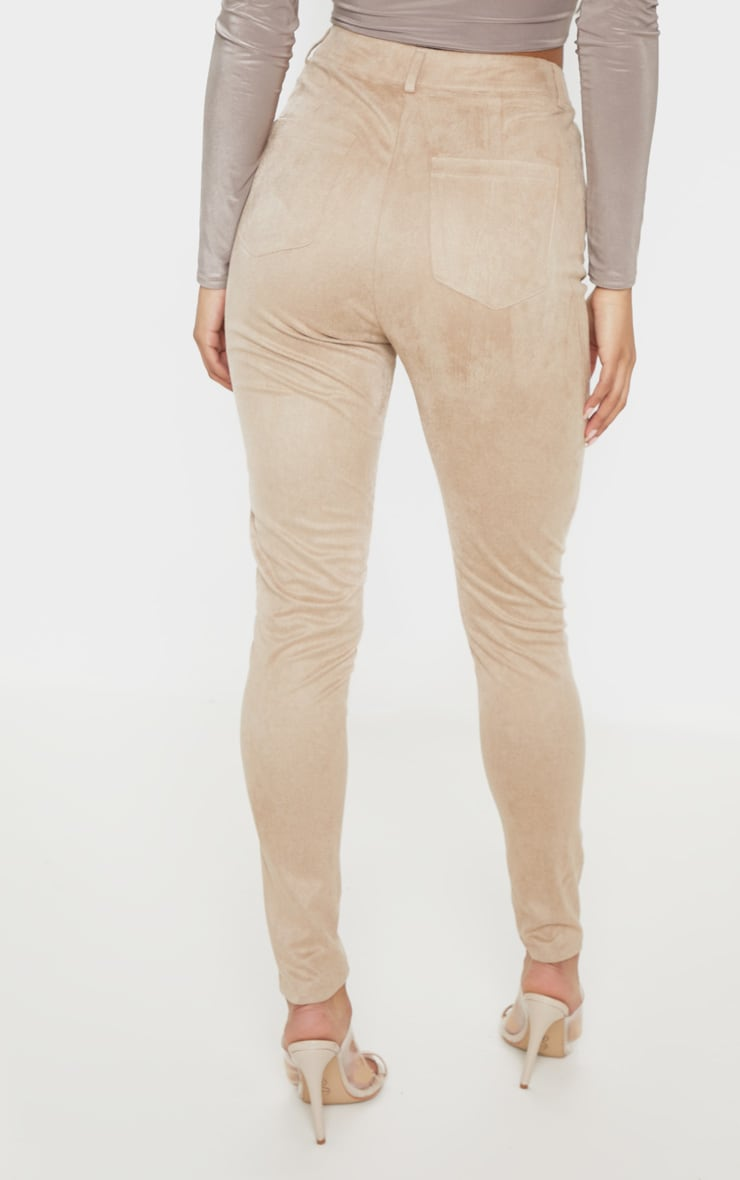 Stone Faux Suede Lace Up Front Skinny Leg Trouser 4