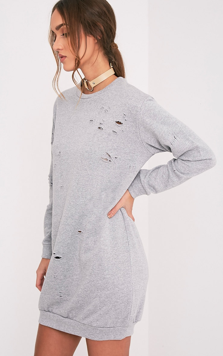 Violet Grey Distressed Long Sleeve Sweater Dress 4