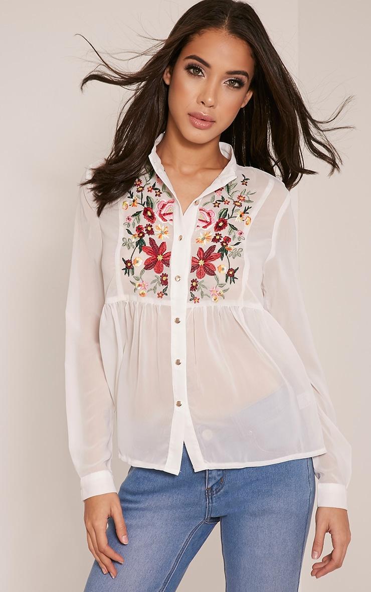 Liara White Embroidered Shirt 1