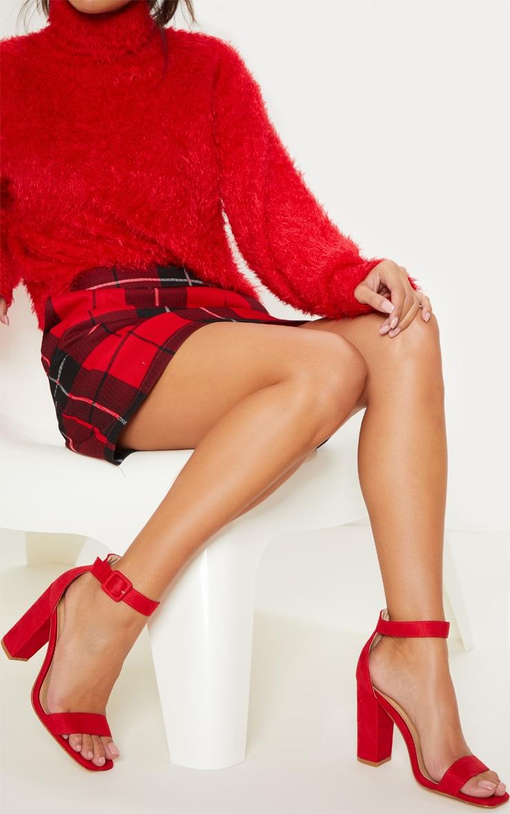 Red Block Heel Square Toe Sandal
