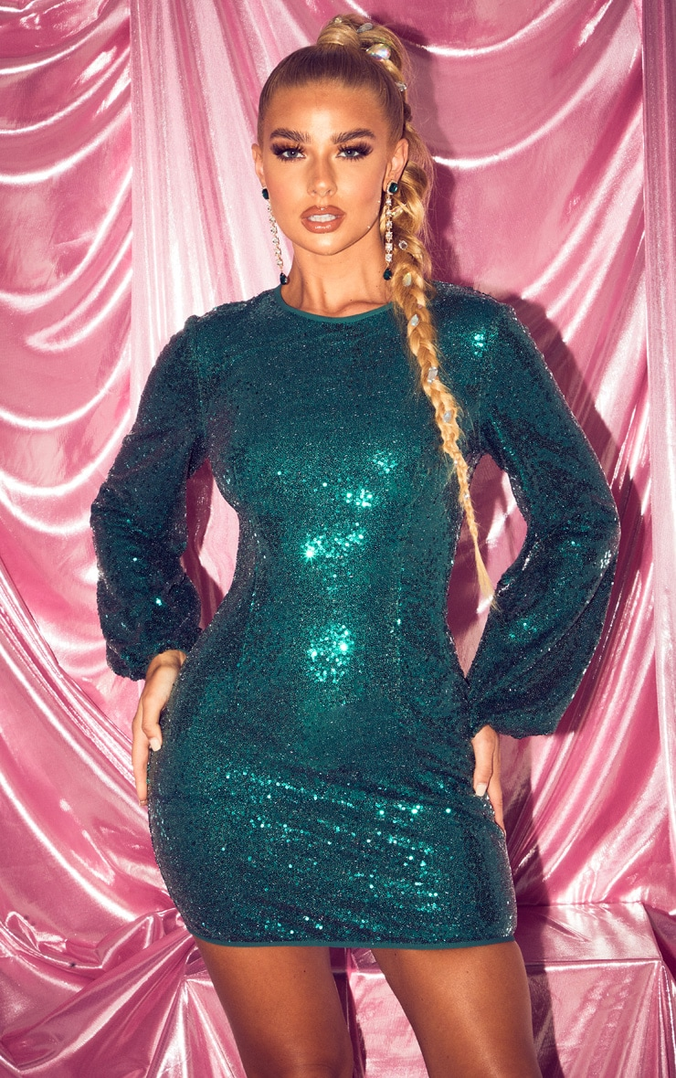 Emerald Green Balloon Sleeve Sequin Bodycon Dress 1