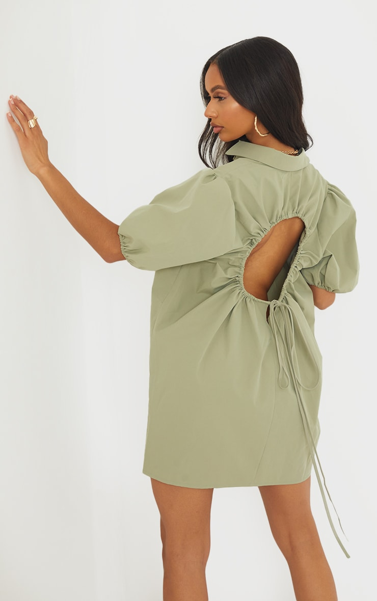 Sage Green Cut Out Ruched Back Puff Sleeve Shirt Dress 1