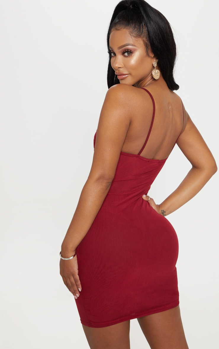 Shape Burgundy Strappy Ruched Mesh Bodycon Dress 2