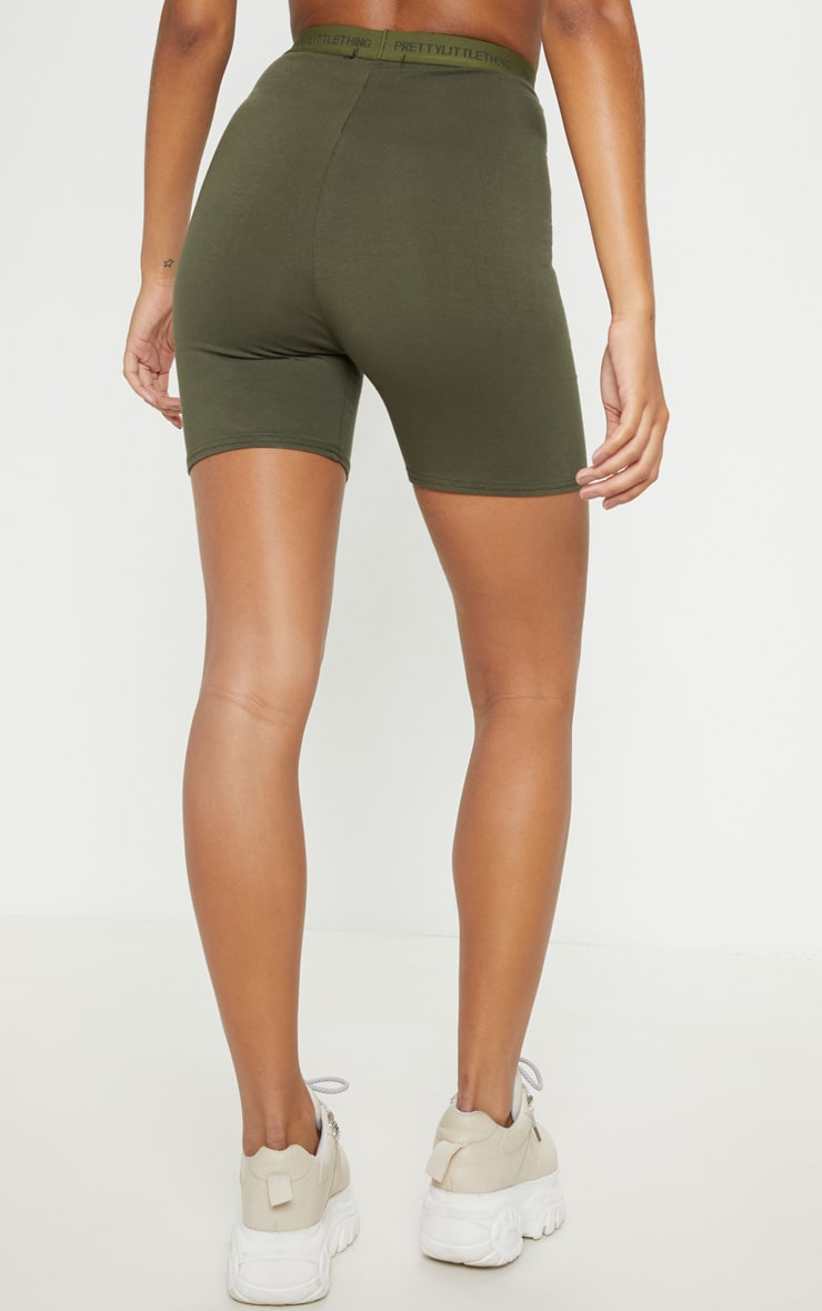 PRETTYLITTLETHING Khaki Tape Bike Short 4