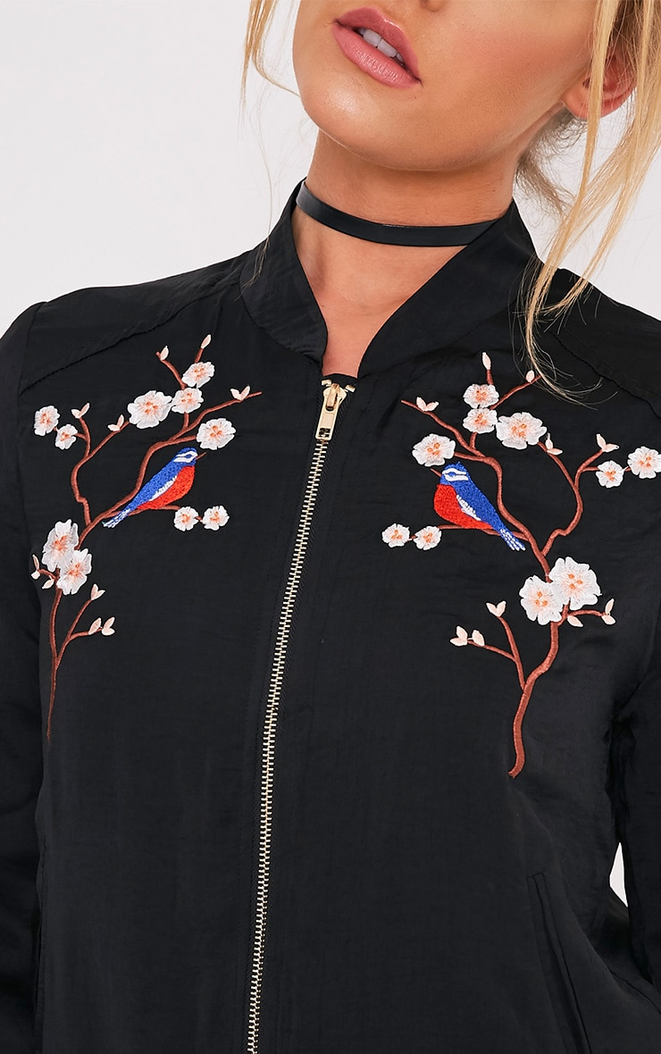 Ebbony Black Satin Embroidered Bomber Jacket 6