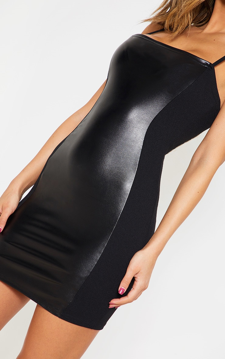 Black Strappy Faux Leather Panelled Dress 5