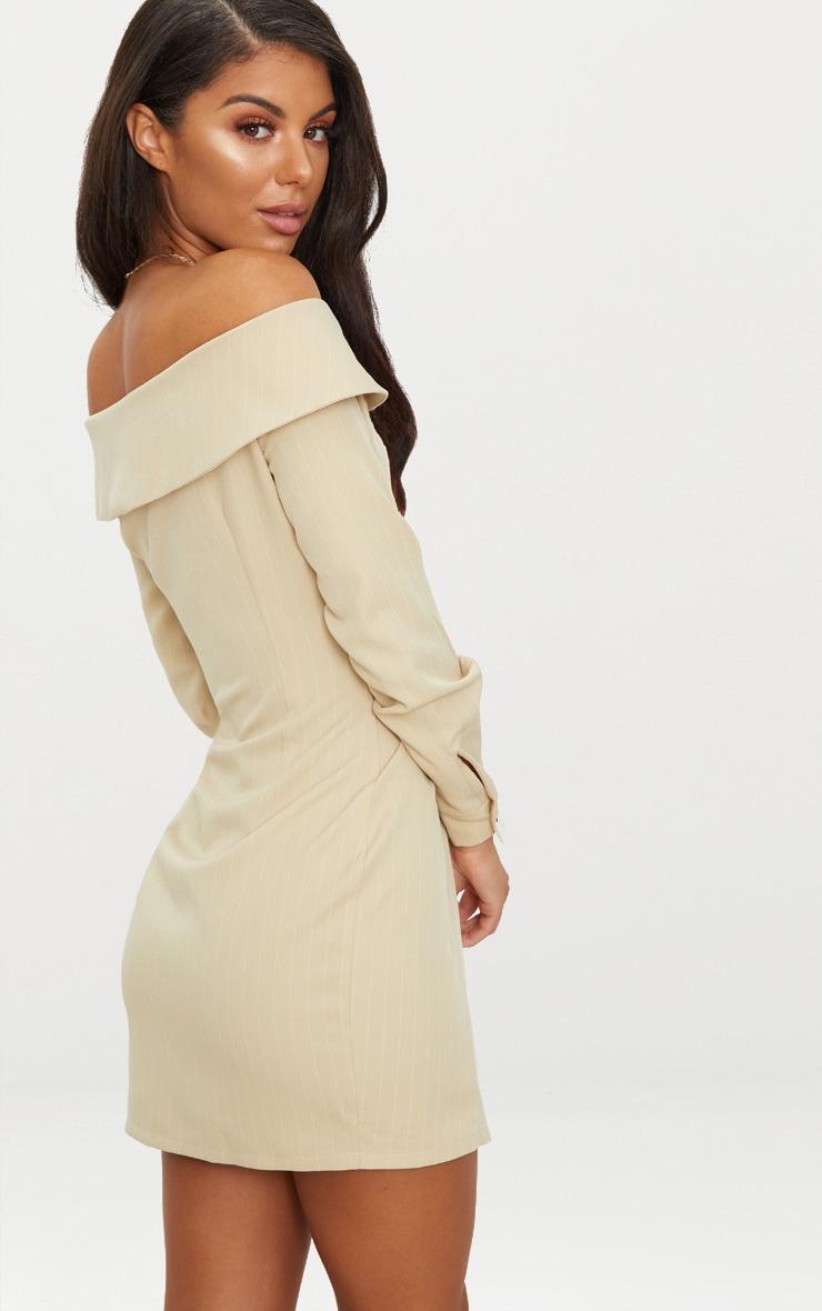 Stone Striped Bardot Button Detail Bodycon Dress 2