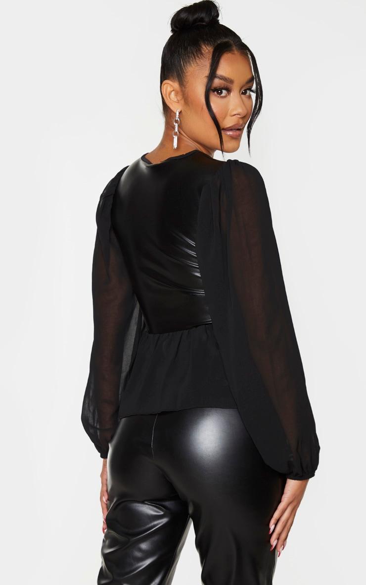 Black PU Chiffon Puff Sleeve Blouse 2