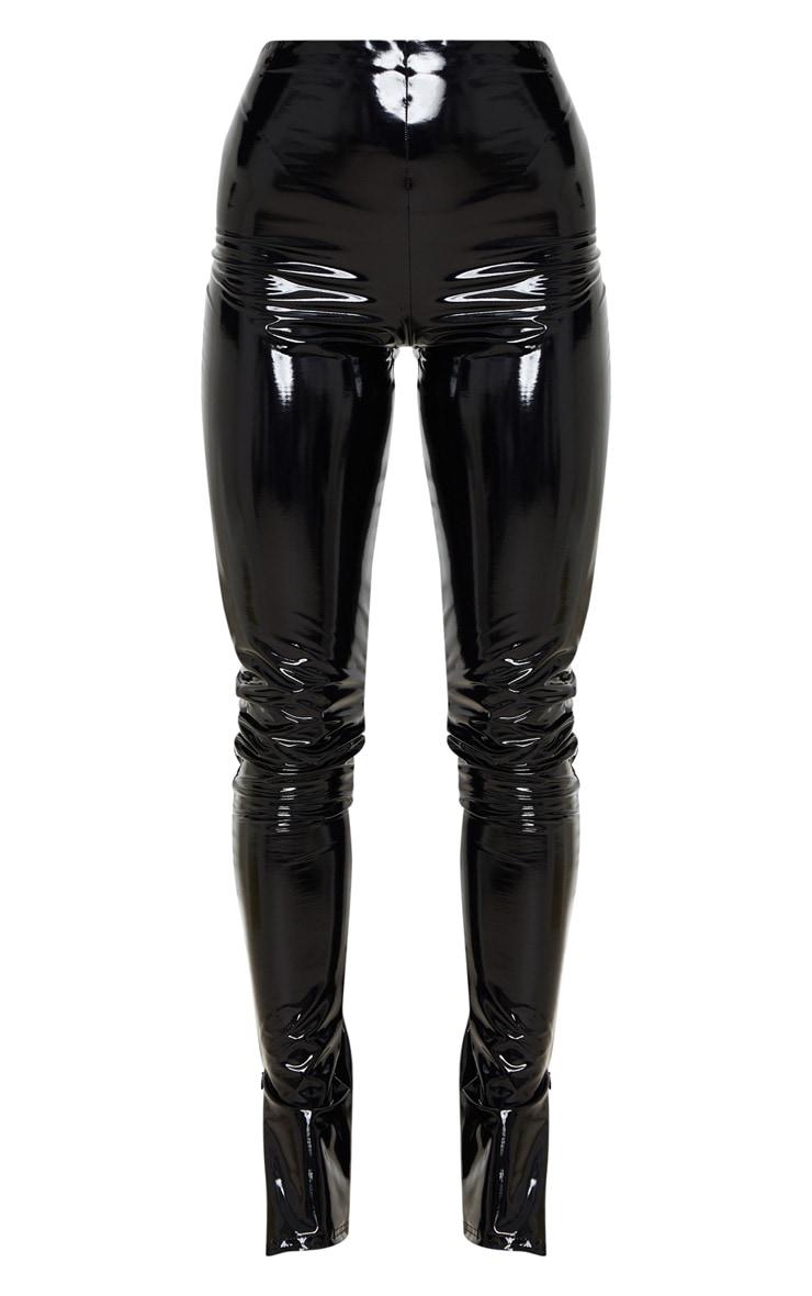 Black Vinyl Split Hem Skinny Trousers 3