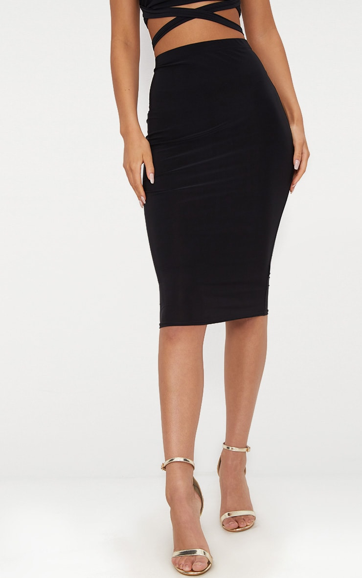 Black Slinky Midi Skirt 2