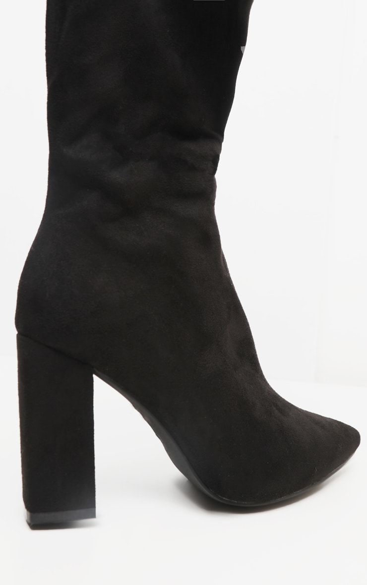Black Wide Fit Block Heel Thigh High Boot 3