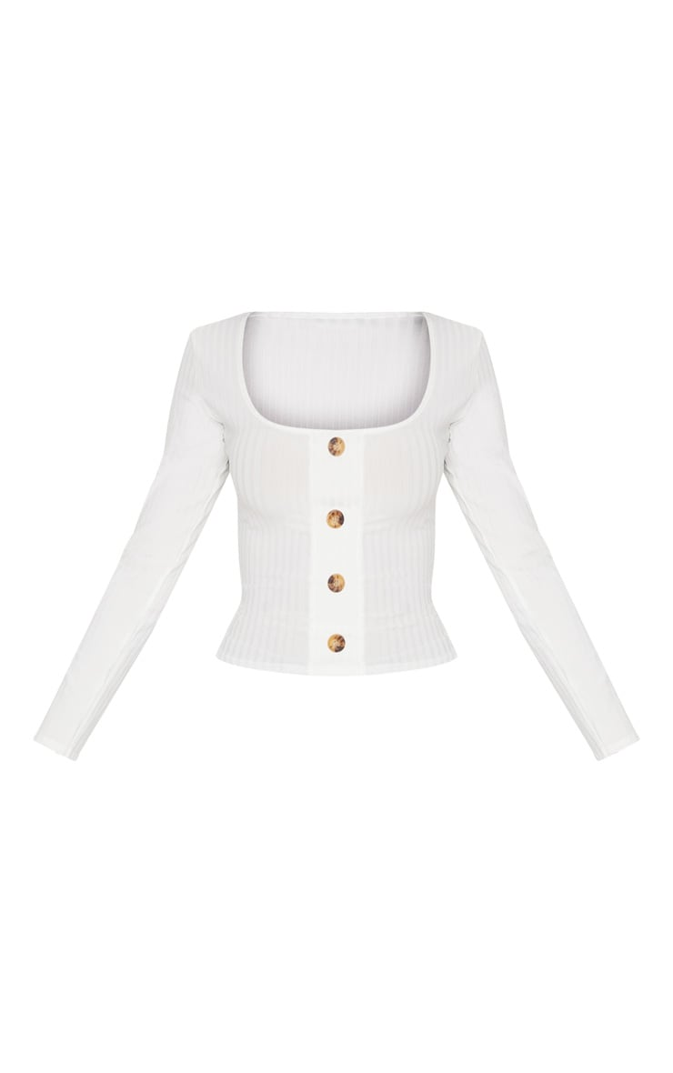 White Long Sleeve Rib Button Detail Top 3