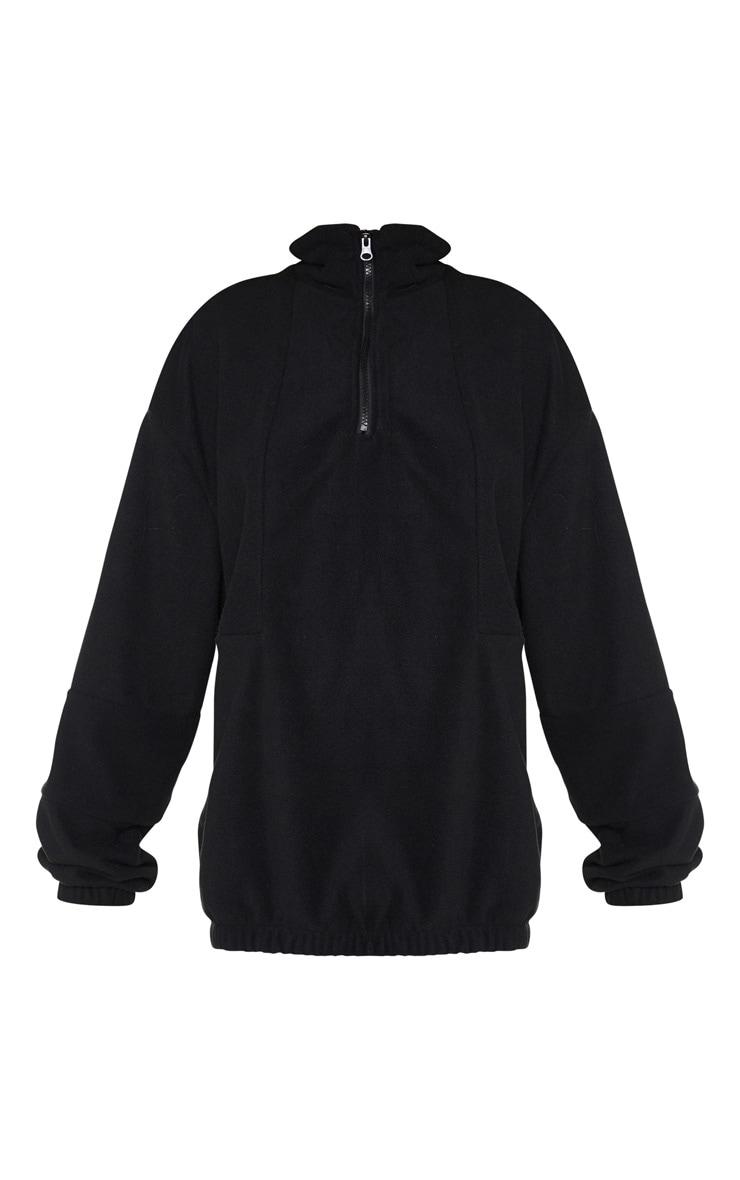 Black Fleece Zip Front Oversized Sweater 4