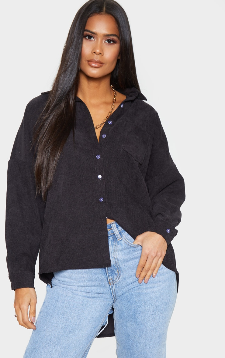 Black Cord Oversized Shirt 1