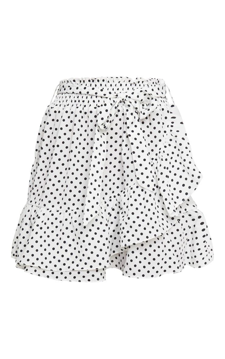 White Polka Dot Woven Frill Edge Tie Mini Skirt 6