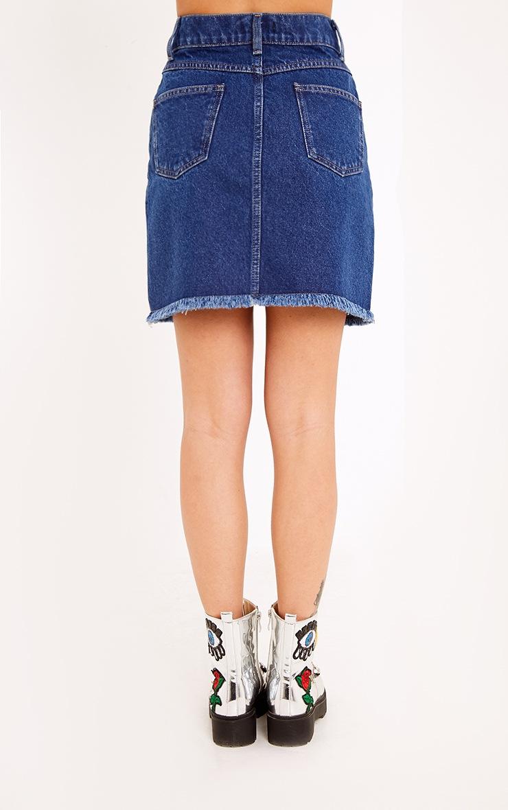 Hanele Mid Wash Fray Hem Denim Mini Skirt 3