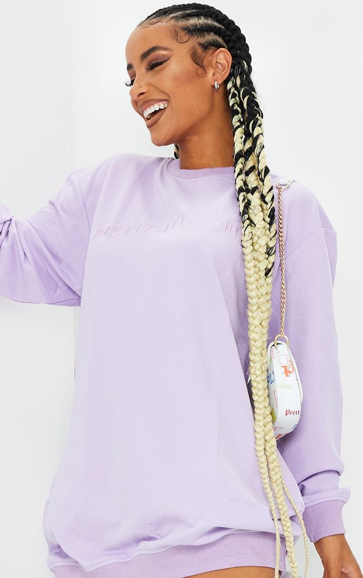 PRETTYLITTLETHING Lilac Slogan Sweat Jumper Dress 4